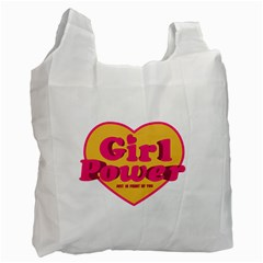 Girl Power Heart Shaped Typographic Design Quote White Reusable Bag (one Side)