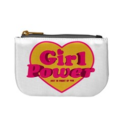Girl Power Heart Shaped Typographic Design Quote Coin Change Purse
