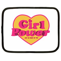 Girl Power Heart Shaped Typographic Design Quote Netbook Sleeve (xl)