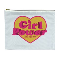 Girl Power Heart Shaped Typographic Design Quote Cosmetic Bag (xl)