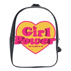 Girl Power Heart Shaped Typographic Design Quote School Bag (large)