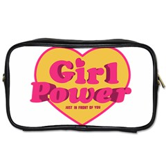 Girl Power Heart Shaped Typographic Design Quote Travel Toiletry Bag (Two Sides)