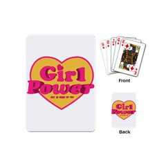 Girl Power Heart Shaped Typographic Design Quote Playing Cards (Mini)