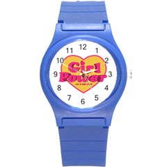 Girl Power Heart Shaped Typographic Design Quote Plastic Sport Watch (small)