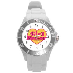 Girl Power Heart Shaped Typographic Design Quote Plastic Sport Watch (large)