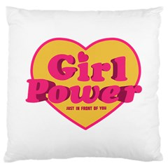 Girl Power Heart Shaped Typographic Design Quote Large Cushion Case (Two Sided)