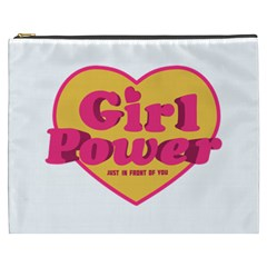 Girl Power Heart Shaped Typographic Design Quote Cosmetic Bag (XXXL)