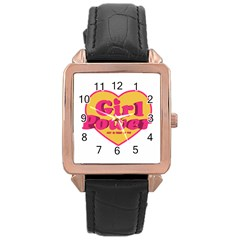 Girl Power Heart Shaped Typographic Design Quote Rose Gold Leather Watch