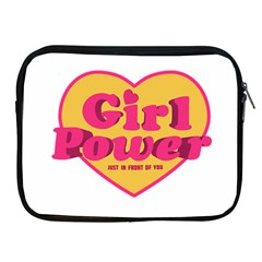 Girl Power Heart Shaped Typographic Design Quote Apple iPad Zippered Sleeve