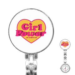 Girl Power Heart Shaped Typographic Design Quote Stainless Steel Nurses Watch