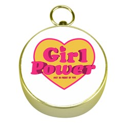 Girl Power Heart Shaped Typographic Design Quote Gold Compass