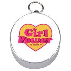Girl Power Heart Shaped Typographic Design Quote Silver Compass