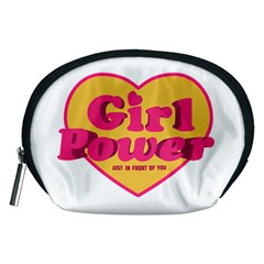 Girl Power Heart Shaped Typographic Design Quote Accessory Pouch (Medium)