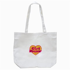 Girl Power Heart Shaped Typographic Design Quote Tote Bag (White)