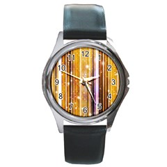 Luxury Party Dreams Futuristic Abstract Design Round Leather Watch (silver Rim)