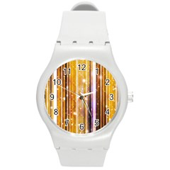 Luxury Party Dreams Futuristic Abstract Design Plastic Sport Watch (medium)