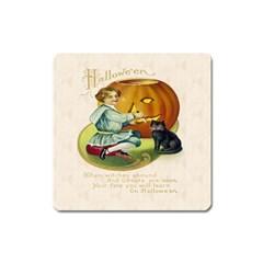 Vintage Halloween Postcard Magnet (Square)