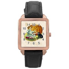 Vintage Halloween Postcard Rose Gold Leather Watch