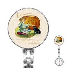 Vintage Halloween Postcard Stainless Steel Nurses Watch
