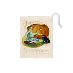 Vintage Halloween Postcard Drawstring Pouch (Small)