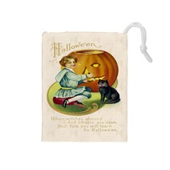 Vintage Halloween Postcard Drawstring Pouch (Medium)
