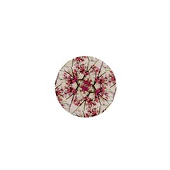 Red Deco Geometric Nature Collage Floral Motif 1  Mini Button Magnet