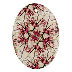 Red Deco Geometric Nature Collage Floral Motif Oval Ornament