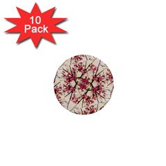 Red Deco Geometric Nature Collage Floral Motif 1  Mini Button (10 Pack)
