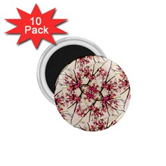 Red Deco Geometric Nature Collage Floral Motif 1.75  Button Magnet (10 pack)