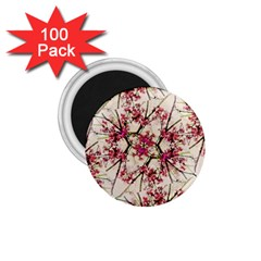 Red Deco Geometric Nature Collage Floral Motif 1 75  Button Magnet (100 Pack)