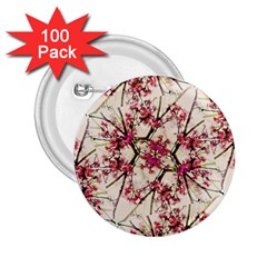 Red Deco Geometric Nature Collage Floral Motif 2.25  Button (100 pack)