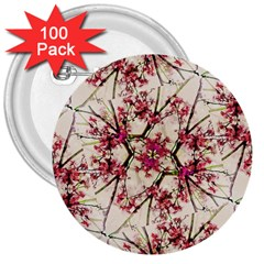 Red Deco Geometric Nature Collage Floral Motif 3  Button (100 pack)