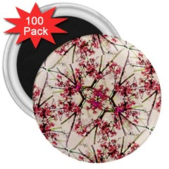 Red Deco Geometric Nature Collage Floral Motif 3  Button Magnet (100 pack)