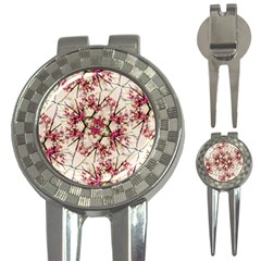 Red Deco Geometric Nature Collage Floral Motif Golf Pitchfork & Ball Marker