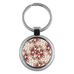 Red Deco Geometric Nature Collage Floral Motif Key Chain (round)