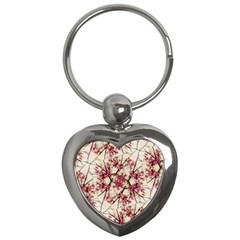 Red Deco Geometric Nature Collage Floral Motif Key Chain (heart)