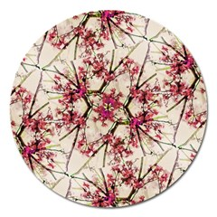 Red Deco Geometric Nature Collage Floral Motif Magnet 5  (Round)