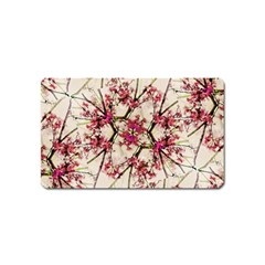 Red Deco Geometric Nature Collage Floral Motif Magnet (name Card)