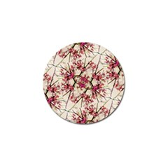 Red Deco Geometric Nature Collage Floral Motif Golf Ball Marker 4 Pack