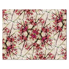 Red Deco Geometric Nature Collage Floral Motif Jigsaw Puzzle (rectangle)