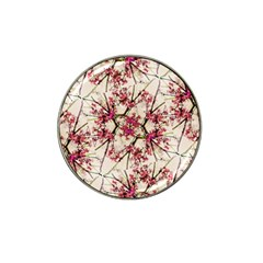 Red Deco Geometric Nature Collage Floral Motif Golf Ball Marker 10 Pack (for Hat Clip)