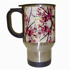 Red Deco Geometric Nature Collage Floral Motif Travel Mug (White)