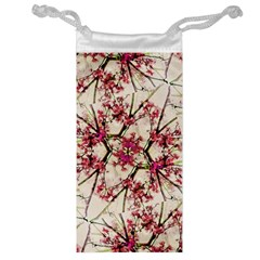 Red Deco Geometric Nature Collage Floral Motif Jewelry Bag