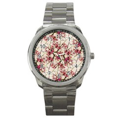 Red Deco Geometric Nature Collage Floral Motif Sport Metal Watch