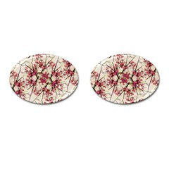 Red Deco Geometric Nature Collage Floral Motif Cufflinks (Oval)