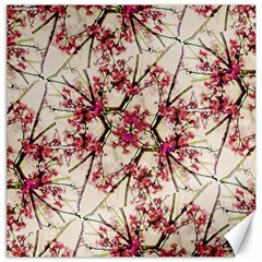 Red Deco Geometric Nature Collage Floral Motif Canvas 16  x 16  (Unframed)