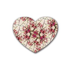 Red Deco Geometric Nature Collage Floral Motif Drink Coasters 4 Pack (Heart)