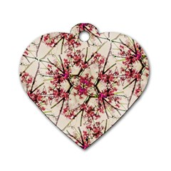 Red Deco Geometric Nature Collage Floral Motif Dog Tag Heart (Two Sided)