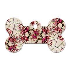 Red Deco Geometric Nature Collage Floral Motif Dog Tag Bone (two Sided)