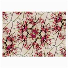 Red Deco Geometric Nature Collage Floral Motif Glasses Cloth (large)